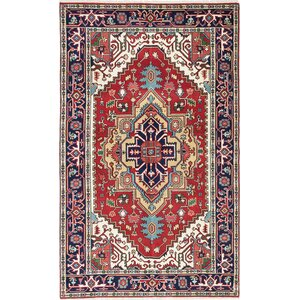 One-of-a-Kind Briggs Hand-Knotted Rectangle Dark Burgundy Wool Area Rug