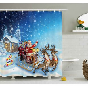 Christmas Santa in Sleigh Toys Single Shower Curtain