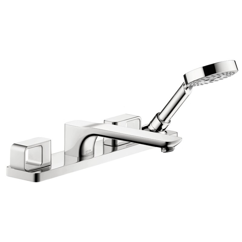 Axor Double Handle Deck Mounted Roman Tub Faucet Trim With Diverter And Handshower Wayfair