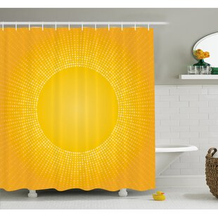 Digital Modern Image of the Sun with Sunshine in Cool Circle Pixels Art Shower Curtain Set
