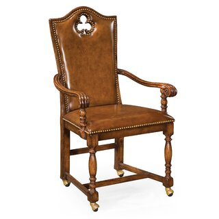 "High Back Playing Card ""Club"" Genuine Leather Upholstered Dining Chair (Set of 2) by Jonathan Charles Fine Furniture SKU:AC568777 Information"