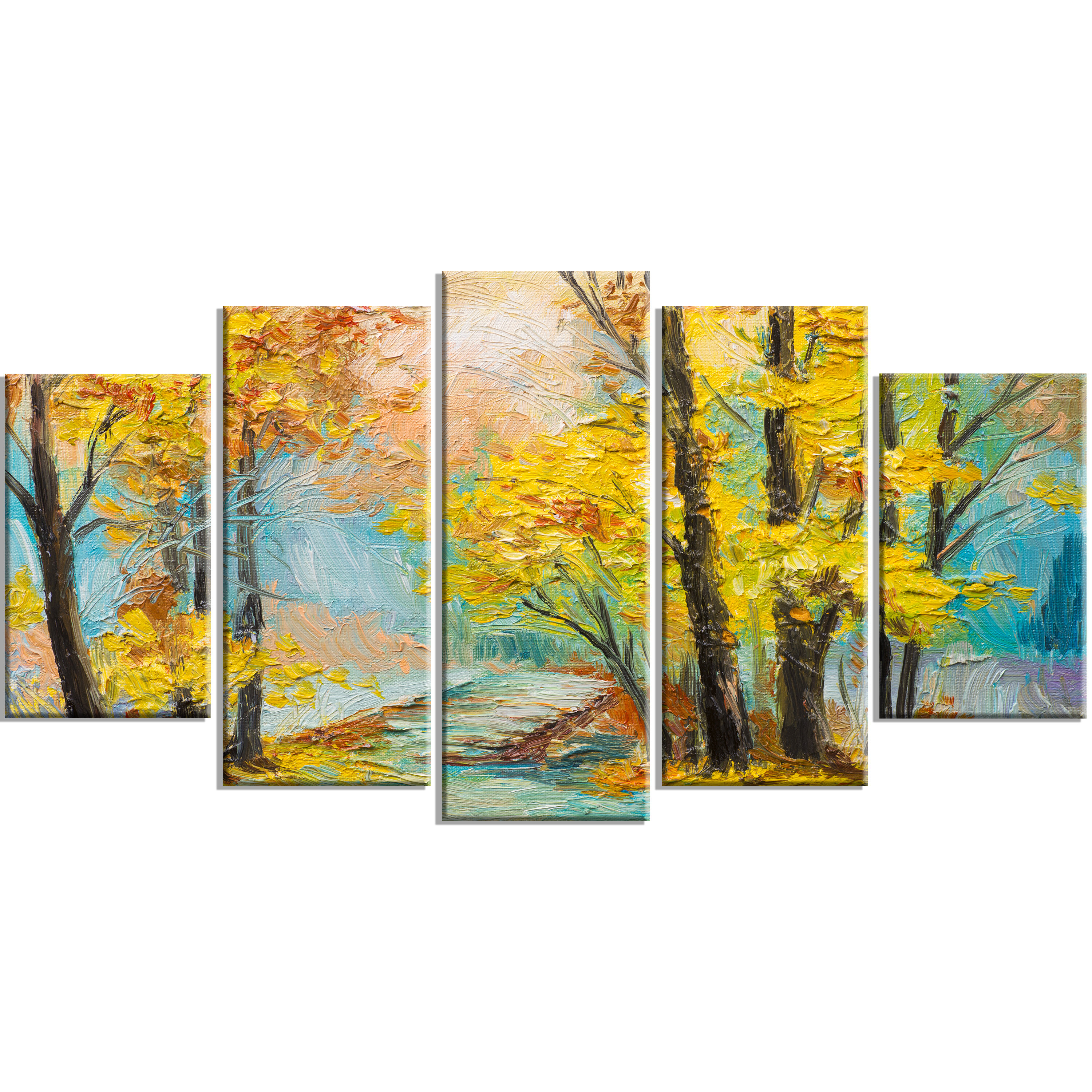 DesignArt \'Yellow Falling Forest\' 5 Piece Wall Art on Wrapped Canvas ...