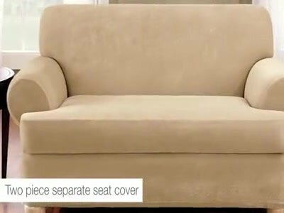 Stretch Suede Box Cushion Loveseat Slipcover