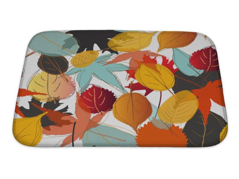 Gear New Leaves Leaf With Warm Colors Of Autumn Rectangle Non Slip Floral Bath Rug Wayfair