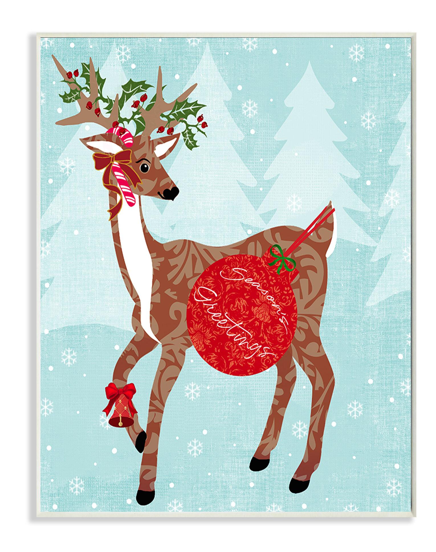 Stupell Industries Seasons Greetings With Reindeer Graphic Art