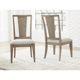 Whicker Upholstered Slat Back Side Chair in Brown (Set of 2) by Ophelia & Co. SKU:EE800179 Price Compare