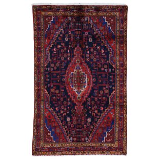 One-of-a-Kind Kiki Pure Wide Hand-Knotted Runner 4'7 x 7'4 Wool Red/Blue/Black Area Rug Isabelline