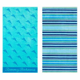 Oceans Marlin Awning Stripe 2 Piece 100% Cotton Beach Towel Set