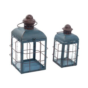 Retro 2 Piece Iron/Glass Lantern Set