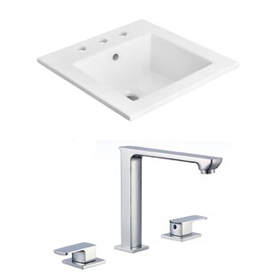 American Imaginations 3 Hole Ceramic Rectangular Drop-In Bathroom Sink with Faucet