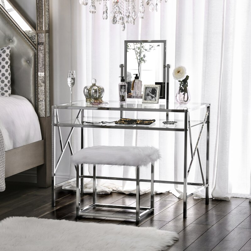 Enid Vanity Set with Stool and Mirror