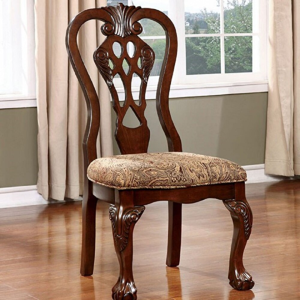 Fleur De Lis Living Swink Upholstered Queen Anne Back Side Chair In Brown Cherry Wayfair