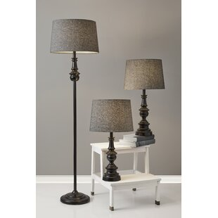 Chiu Classic Herringbone Containing Matching 3 Piece Table and Floor Lamp Set
