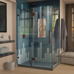 Quatra Lux 46.38 inch  x 72 inch  Hinged Frameless Shower Door with Clear Max Technology