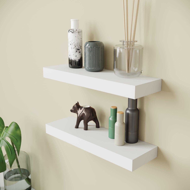 Ballucci Modern Floating 2 Piece Wall Shelf Set Reviews