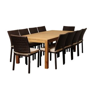 Arango 11 Piece Teak Dining Set With Cushions by Beachcrest Home