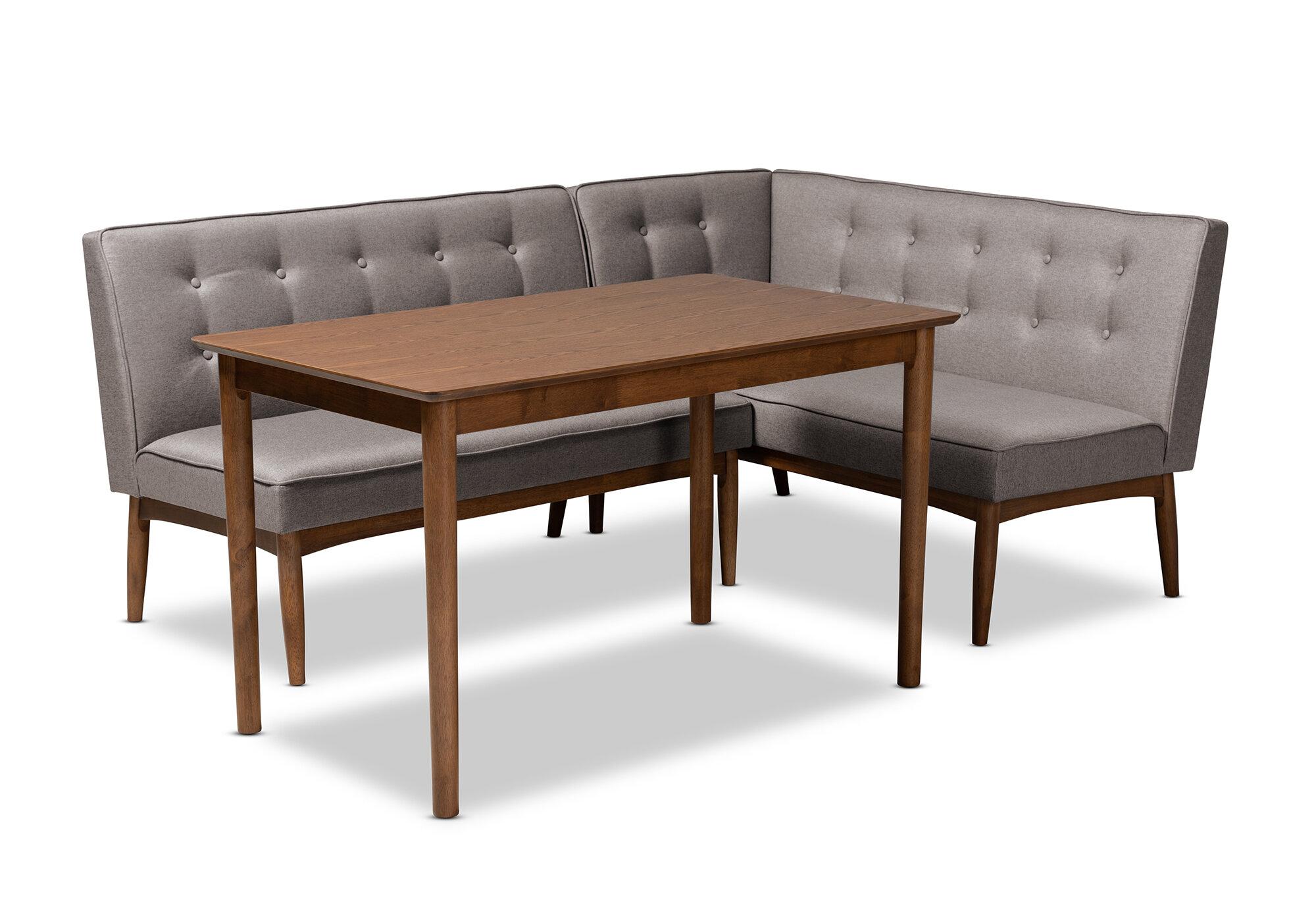 Superb Bopp Mid Century Modern Upholstered 3 Piece Breakfast Nook Dining Set Forskolin Free Trial Chair Design Images Forskolin Free Trialorg