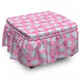 Elephant Girly Happy Animals 2 Piece Box Cushion Ottoman Slipcover Set by East Urban Home