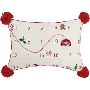 Advent Calendar Embroidered 100% Cotton Throw Pillow