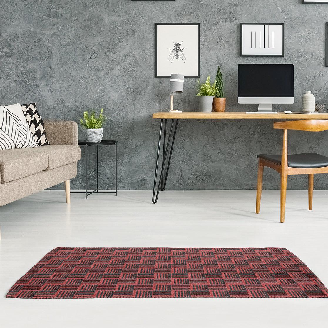East Urban Home Basketweave Stripes Black Maroon Area Rug Wayfair