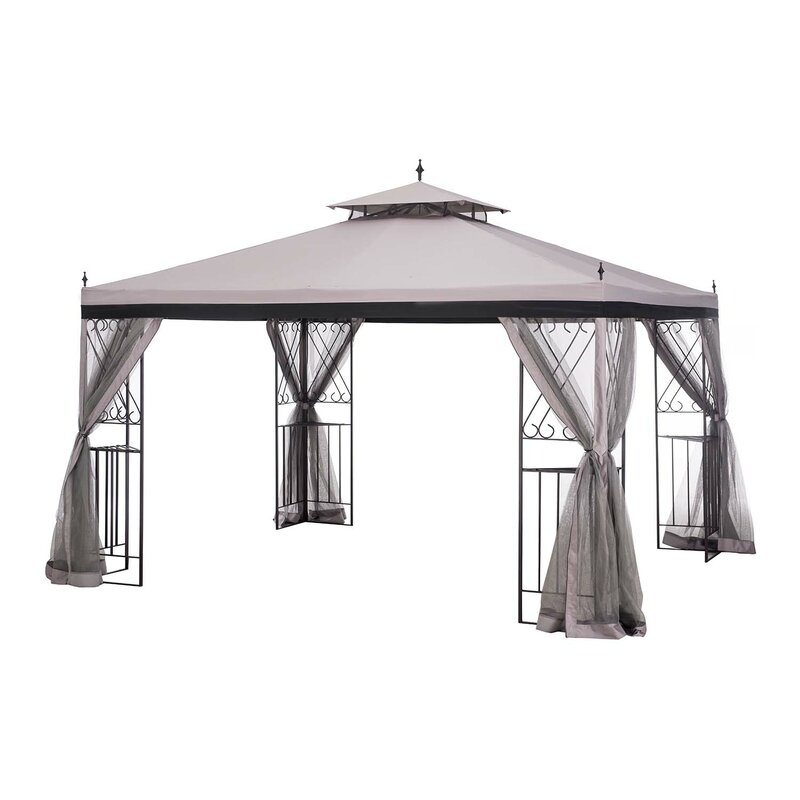 Superbe 12 Ft. W X 9 Ft. D Steel Patio Gazebo With Mosquito Netting