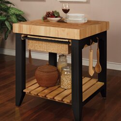 powell color story prep table with butcher block top & reviews