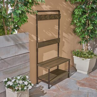Mullenax Outdoor Bench with Shelf and Coat Hooks By Williston Forge