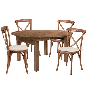 Alistair 5 Piece Solid Wood Dining Set by..