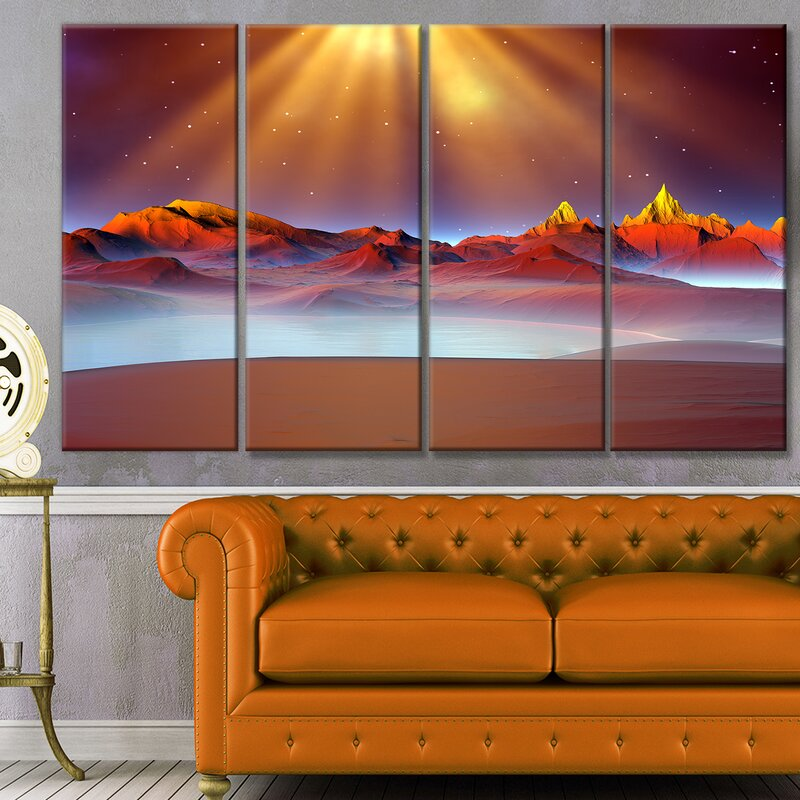 'Alien Landscape at Sunset' Photographic Print Multi-Piece Image on Canvas