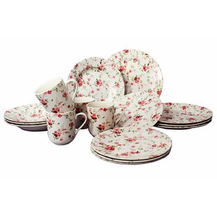 Royal Summer Florid Flowers 16 Piece Dinnerware Set, Service for 4