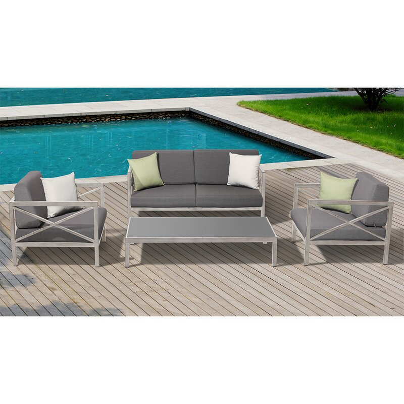 Charming Pasadena 4 Piece Deep Seating Group With Cushions