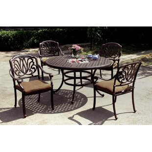 Three Posts Lebanon 5 Piece Dining Set with Cushions and Cooler