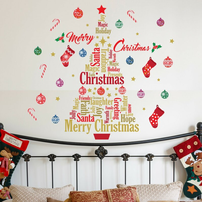 english quotes merry christmas tree wall decal