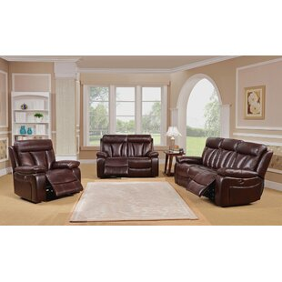 Lenny Reclining 3 Piece Leather Living Room Set Red Barrel Studio
