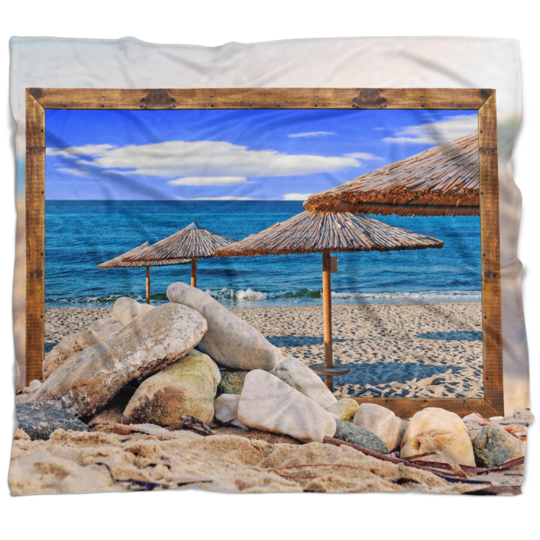 East Urban Home Seashore Framed Effect Beach Umbrellas Blanket
