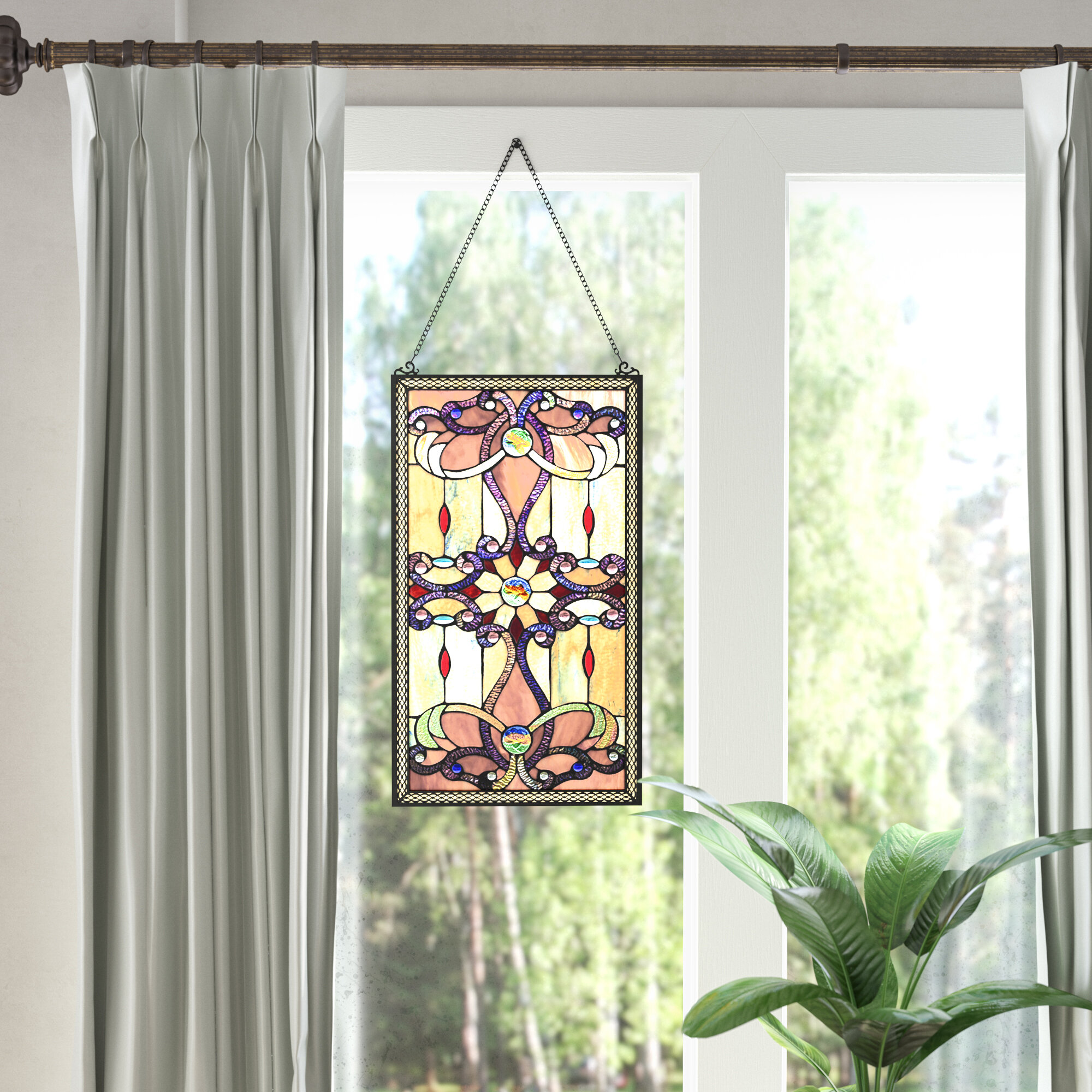 Ludington Tiffany Style Stained Glass Window Wall Panel
