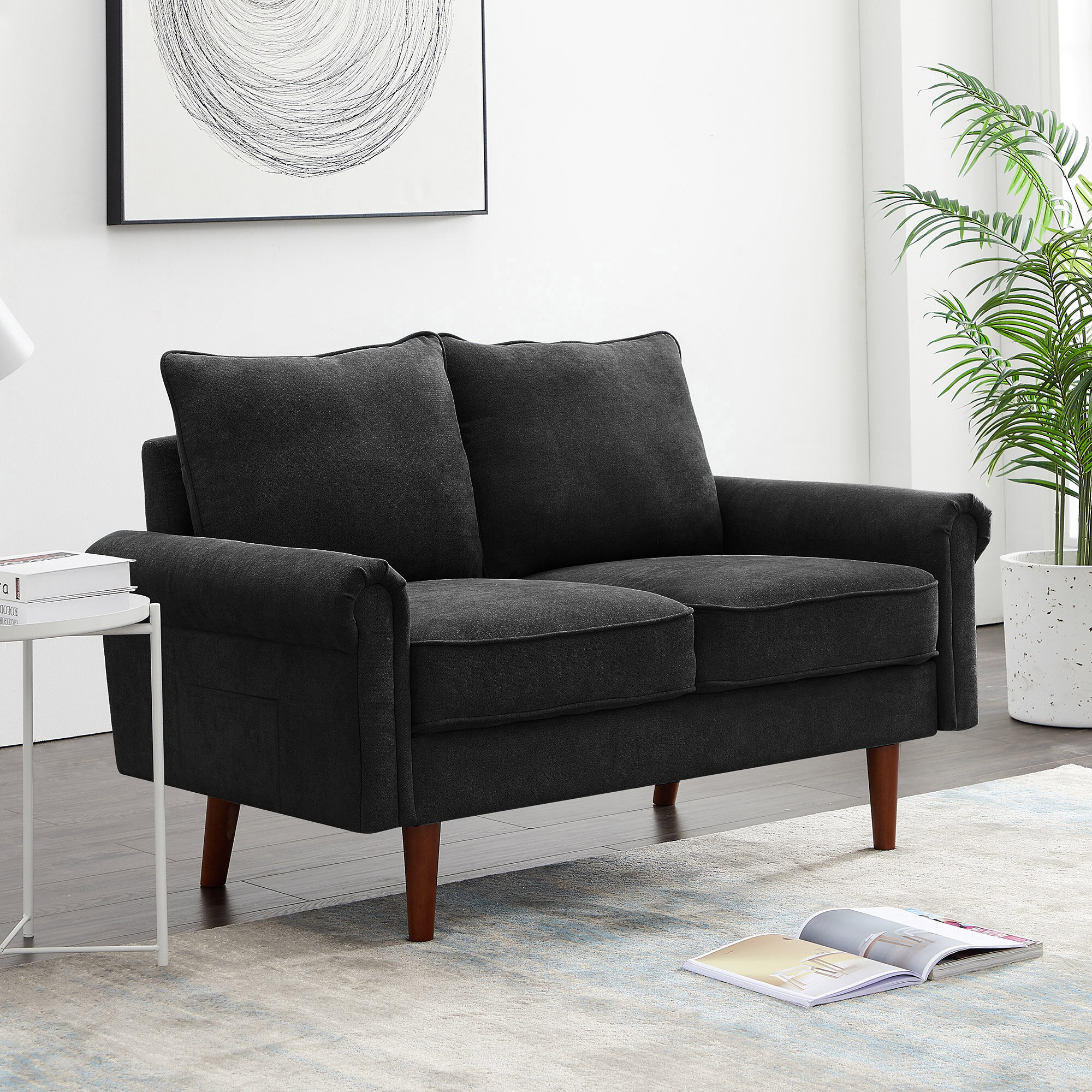 Picture of: Red Barrel Studio 2 Person Seat Sofa Sectional Sofa Wooden Frame Couch For Home Living Room Wayfair Ca