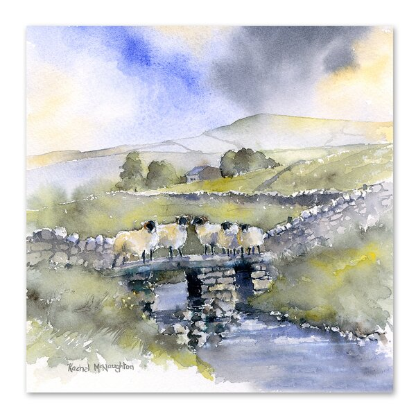 East Urban Home Sheep On A Bridge Print Wayfair