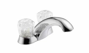 Delta Classic Centerset Bathroom Faucet with Clear Knob Handles