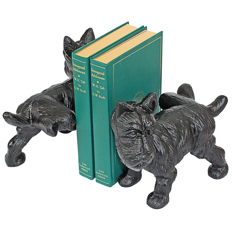 Design Toscano Over The Fence Scotty Dog Cast Iron Sculptural Bookend Pair