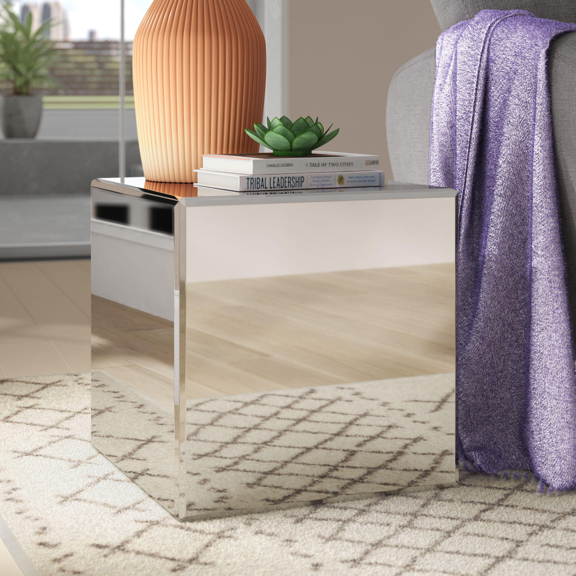 Mirrored Pedestal Stand End Table Sofa Side Furniture Mirror Cubes Wood Frame