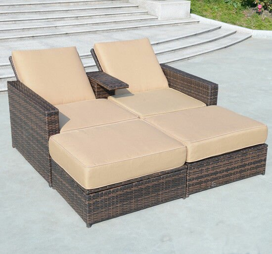 Greenview 4 Piece Double Chaise Lounge With Cushion
