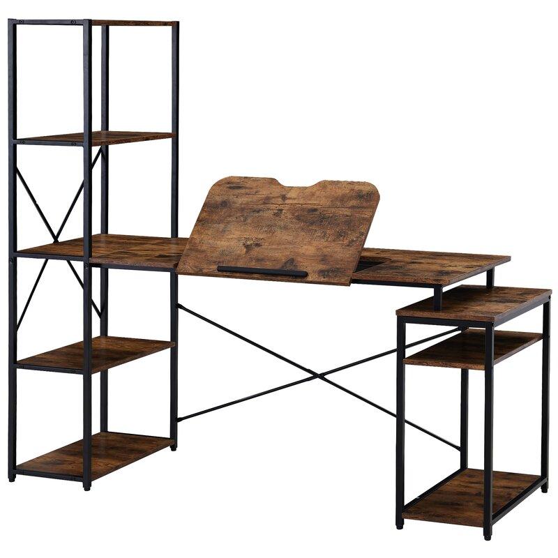 17 Stories Yarborogh Desk With 5 Tier Bookshelf Wayfair