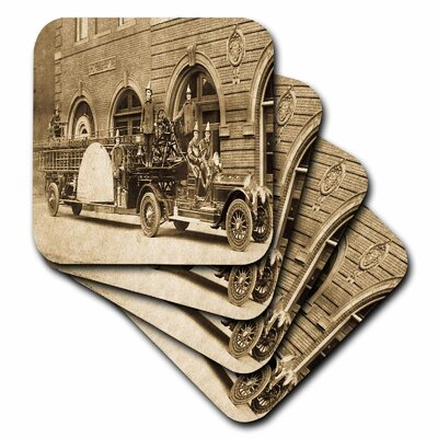 3dRose  Ceramic Tile Coasters - 1920s Hook and Ladder Fire Company Sepia  - set of 4 (cst_16203_3)