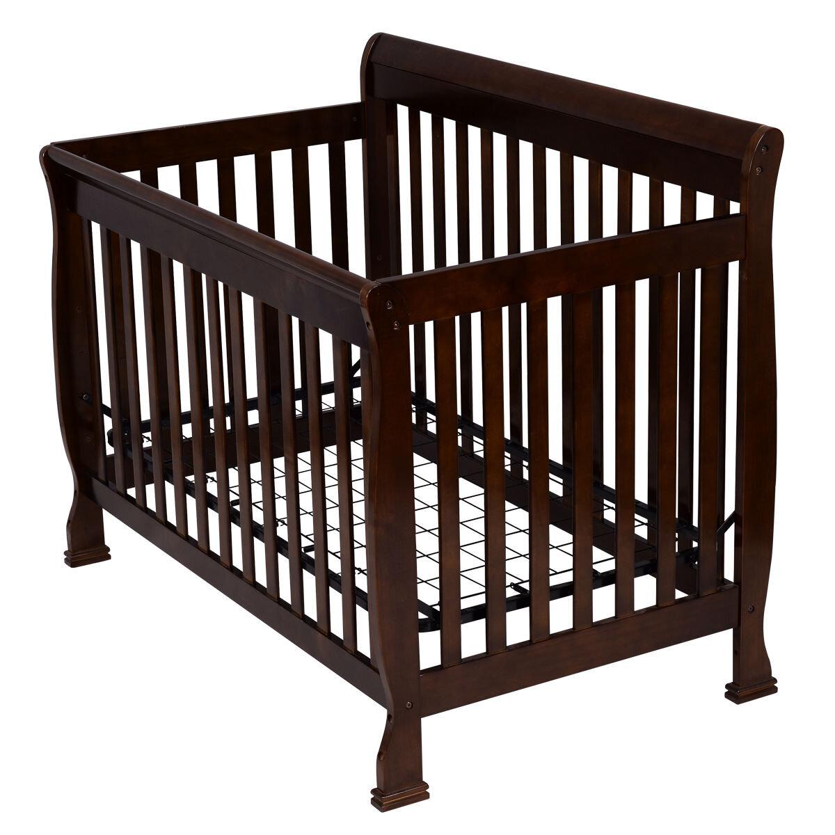 Harriet Bee Coffee Pine Wood Convertible Crib Baby Toddler Bed Wayfair Ca