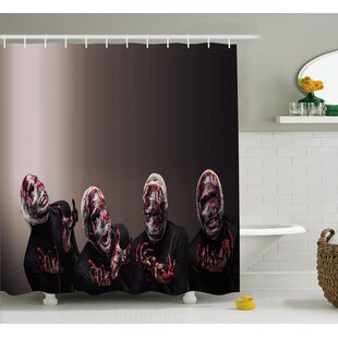 Wizard Bloody Faces With Bandage of Screaming Zombie Looks Scary Spooky Dark Art Pattern Single Shower Curtain