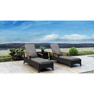 Brayden Studio Aisha Sun Lounger Set with Cushions and Table