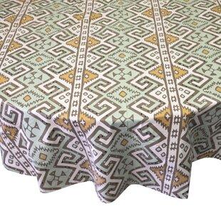 Attirant Danae Aztec Print Heavyweight Round Vinyl Tablecloth