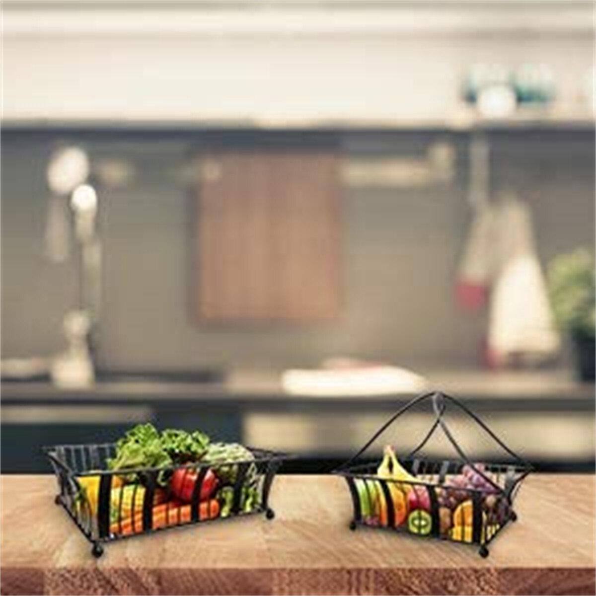 Prep Savour Fruit Basket 2 Tier Fruits And Vegetable Storage Kitchen Counter Display Stand Storage Baskets Metallic Black Bread Fruit Vegetable Organizer Rack Wayfair