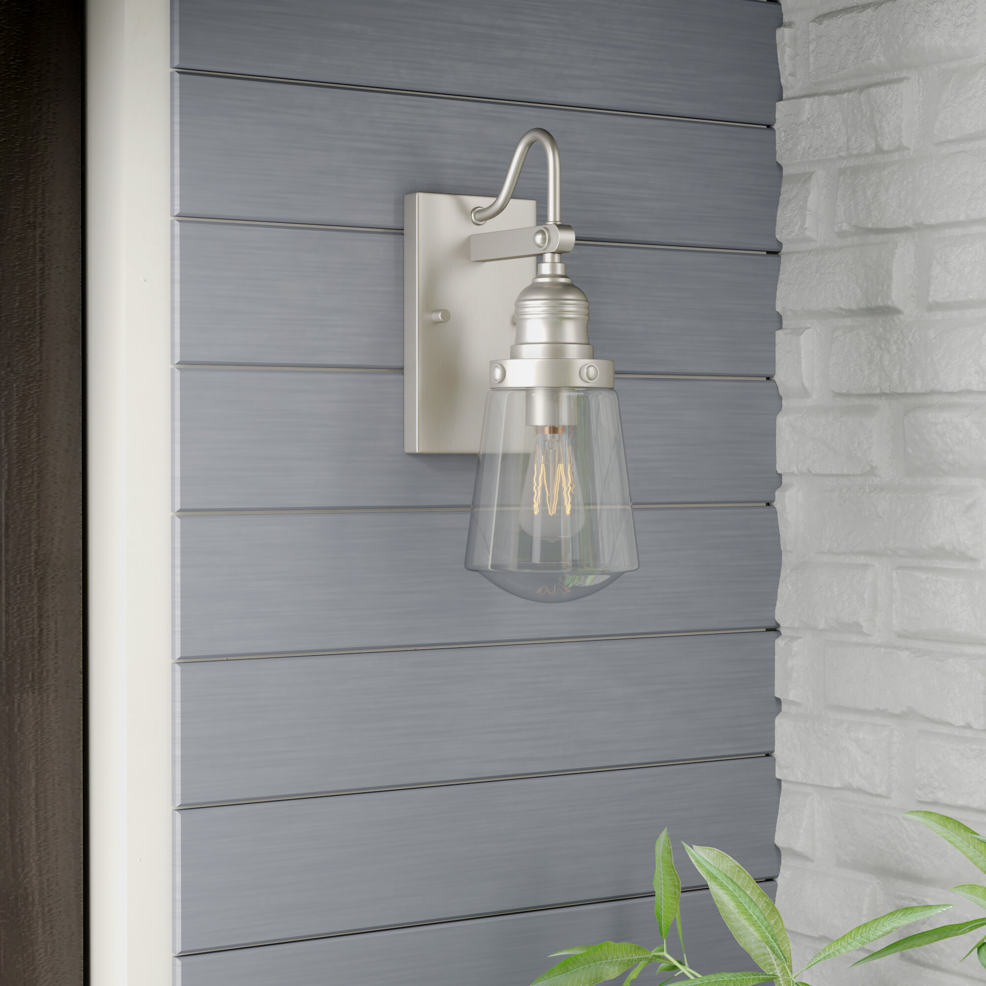 Satin Nickel Outdoor Wall Lighting You